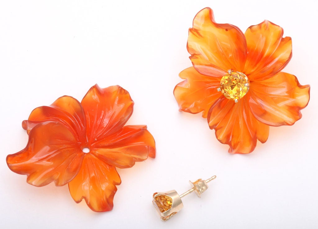 Carved Carnelian Flower Jackets with Citrine Stud Earring 5