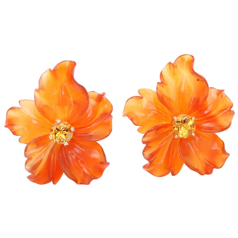 Carved Carnelian Flower Jackets with Citrine Stud Earring 1