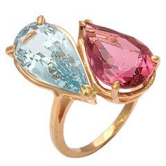 Pink Tourmaline and Aquamarine Toi et Moi Crossover Ring