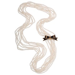Fabulous Victorian Ribbon and Pearl Bow Brooch on a Pearl Necklace