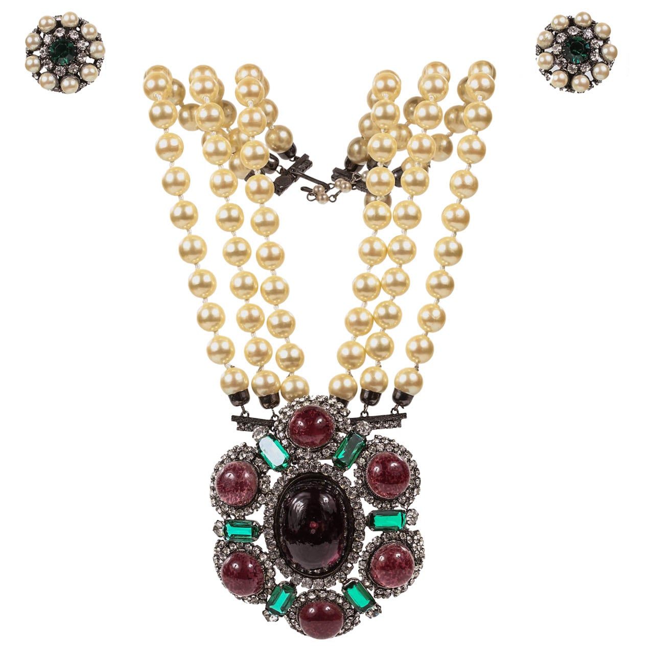 Lawrence Vrba Convertible Necklace & Ear Clip Set 1