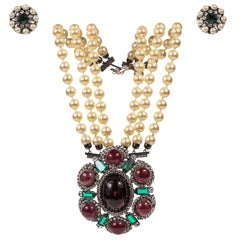 Lawrence Vrba Convertible Necklace & Ear Clip Set