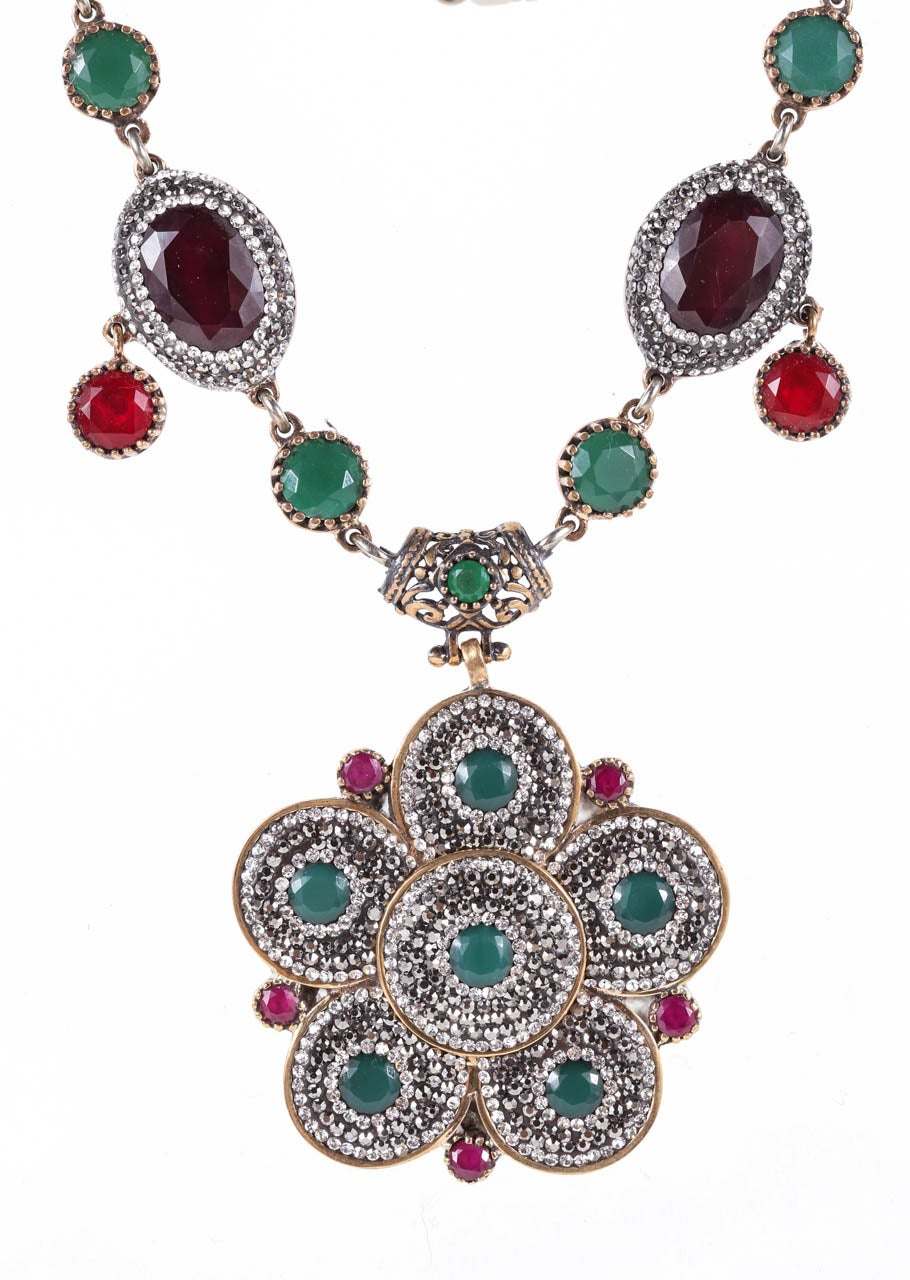 Indian Mogul Style Sterling Necklace & Earring Set For Sale 3