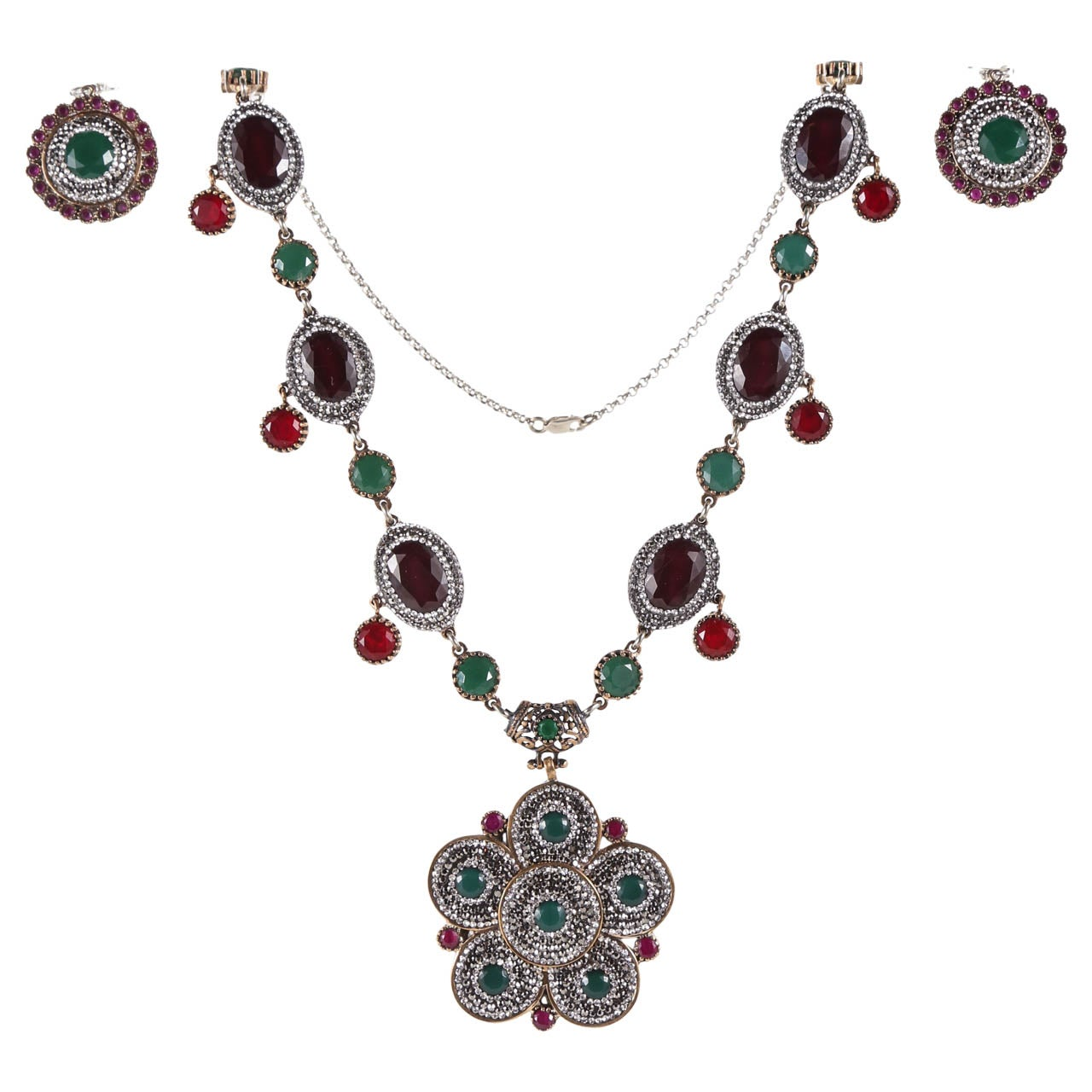 Indian Mogul Style Sterling Necklace & Earring Set For Sale