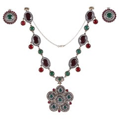 Indian Mogul Style Sterling Necklace & Earring Set