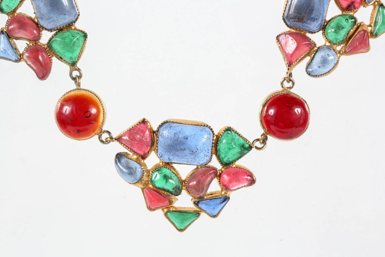 Beautiful & Colorful Gripoix Necklace attributed to Chanel In Excellent Condition For Sale In Los Angeles, CA
