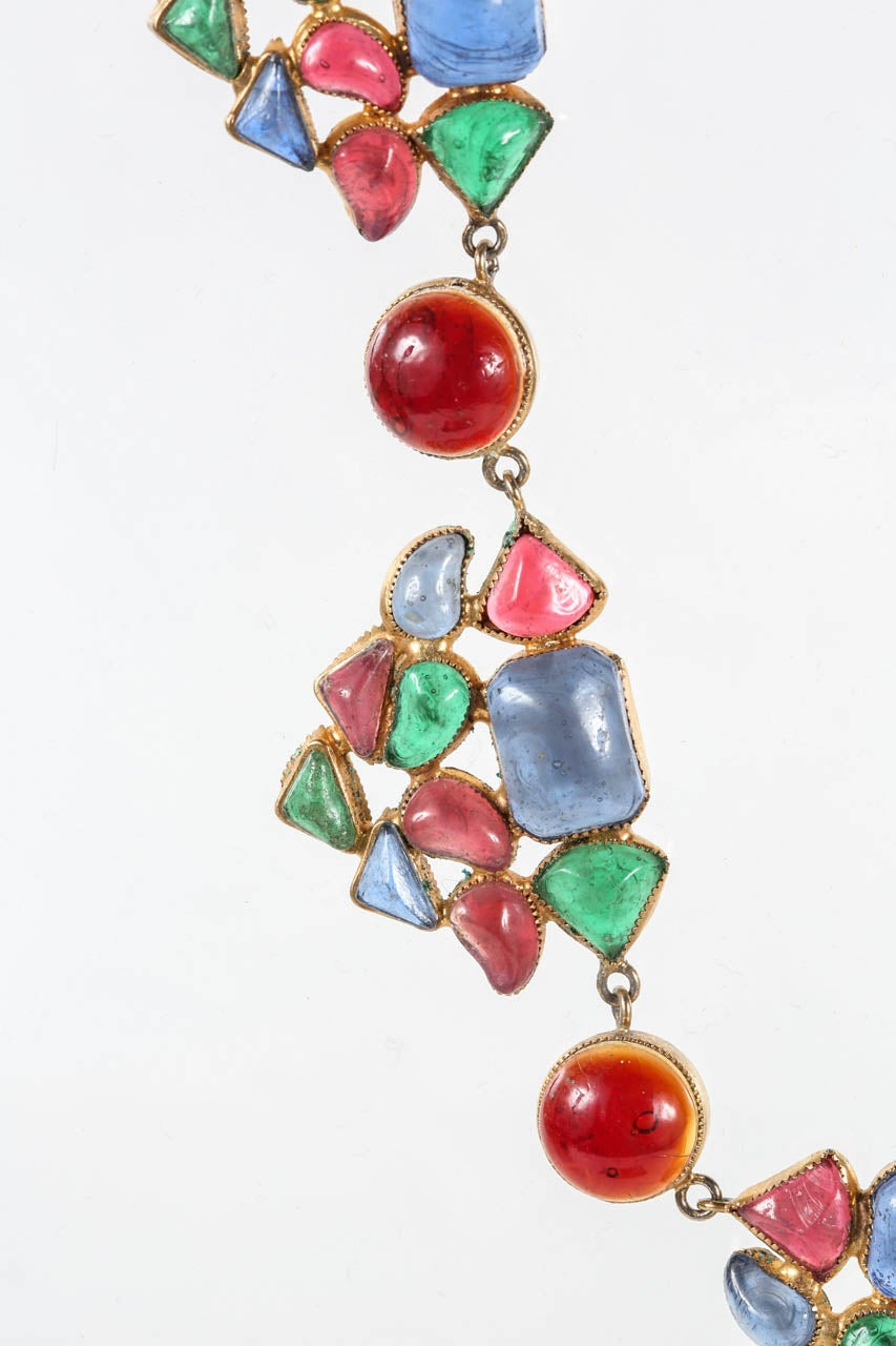 Beautiful & Colorful Gripoix Necklace attributed to Chanel 4