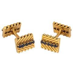 Van Cleef & Arpels Sapphire Gold Mounted Cufflinks