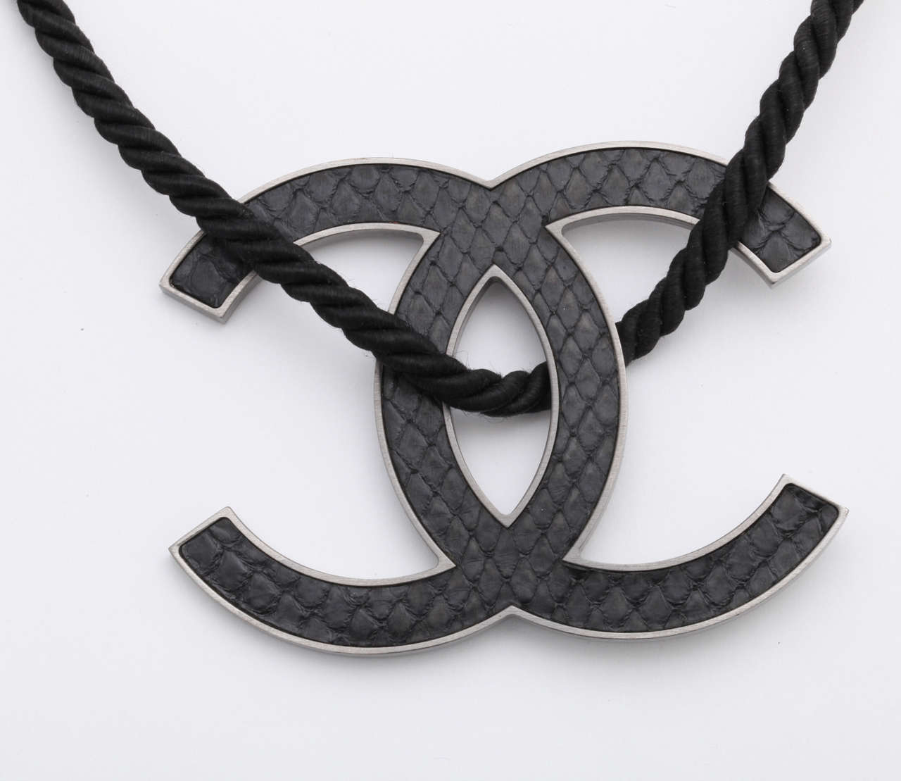 Chanel large black cc logo necklace at 1stdibs chanel large black cc logo necklace in as new condition for sale in new york aloadofball Image collections