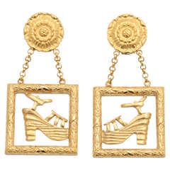 Rare Salvatore Ferragamo Earrings with Shoe Motifs
