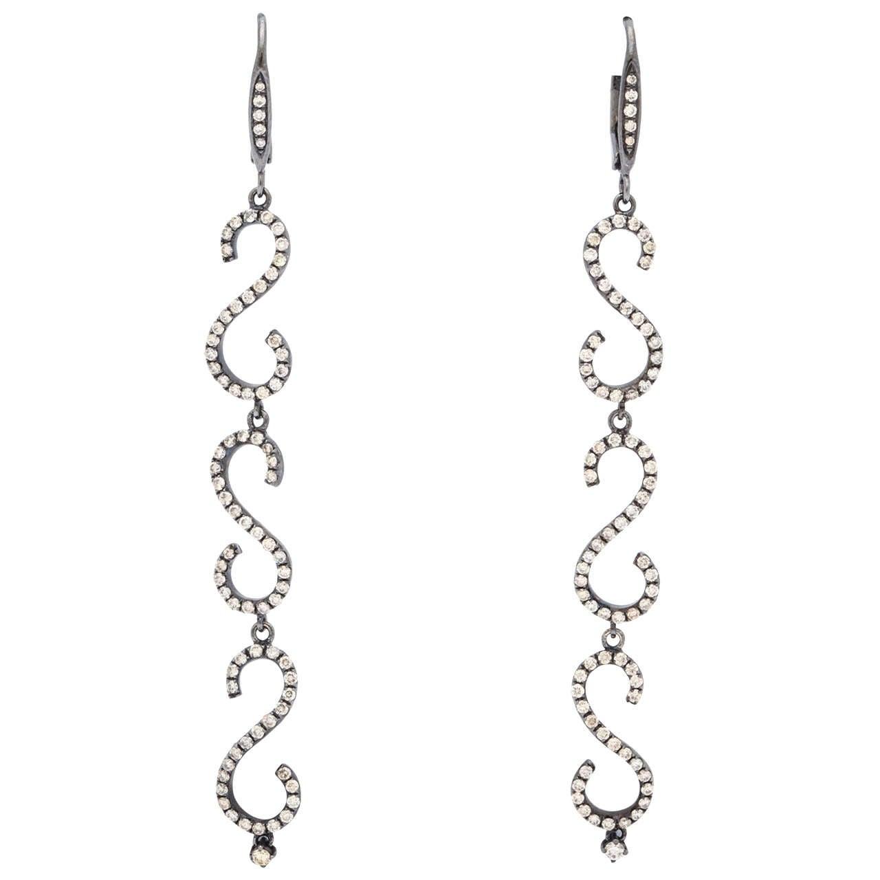 Elegant Diamond Black Gold Earrings