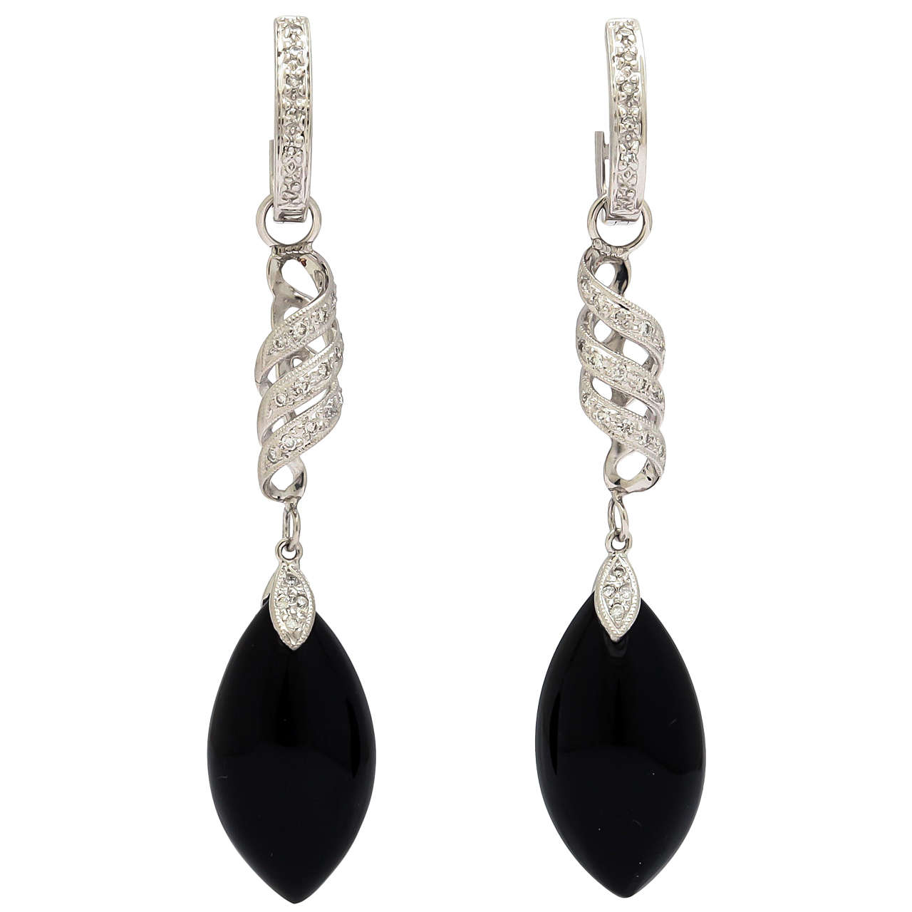Stunning Convertible Diamond and Black Onyx Earrings
