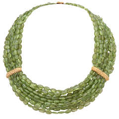 Stunning Peridot Gold Multistrand Necklace