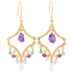 High Karat Gemstone Gold Earrings