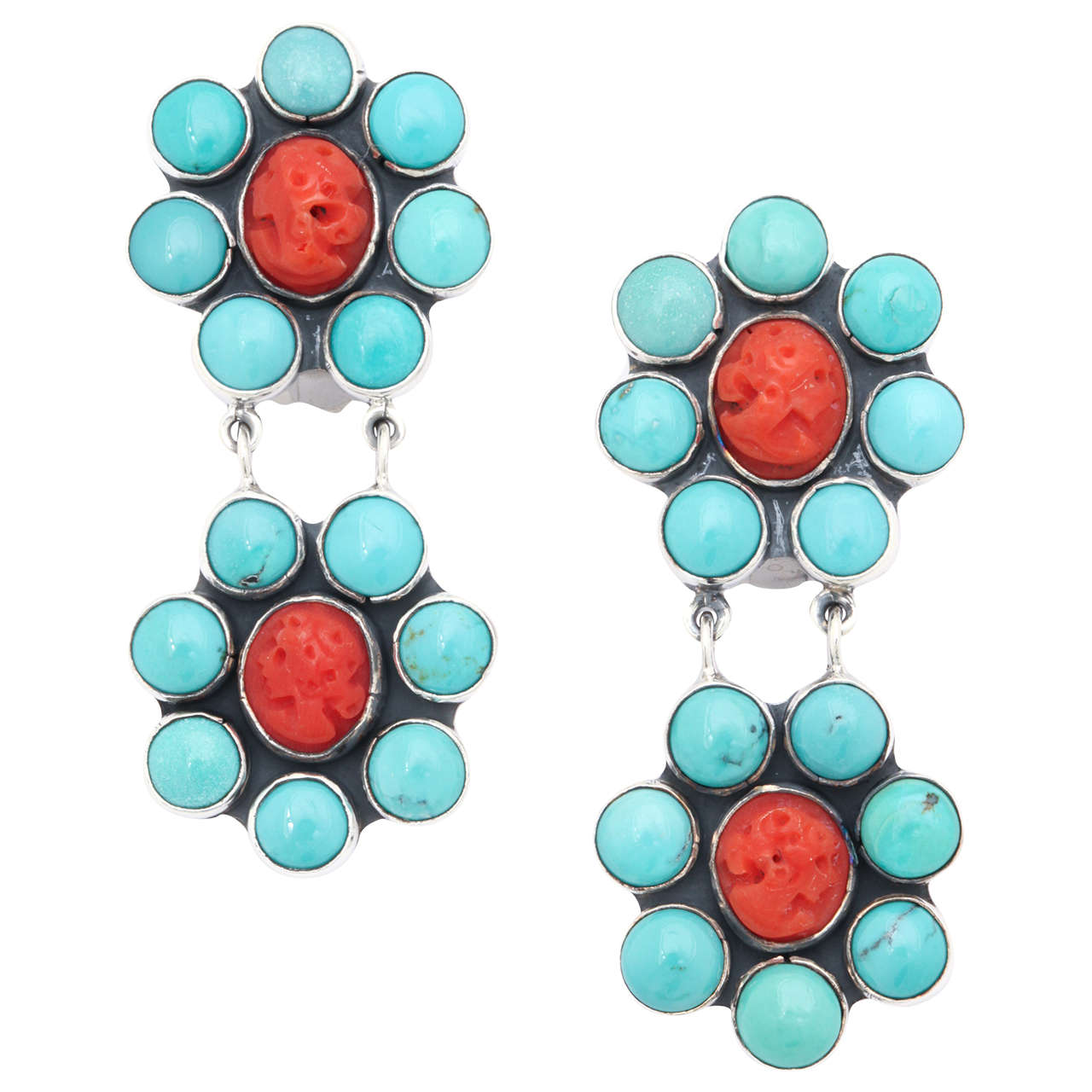 Gorgeous Turquoise Coral Silver Clip Earrings