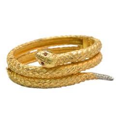 Vintage Joseph Mazer Snake Bracelet Jomaz Rhinestone Rattler Red Eyes RARE