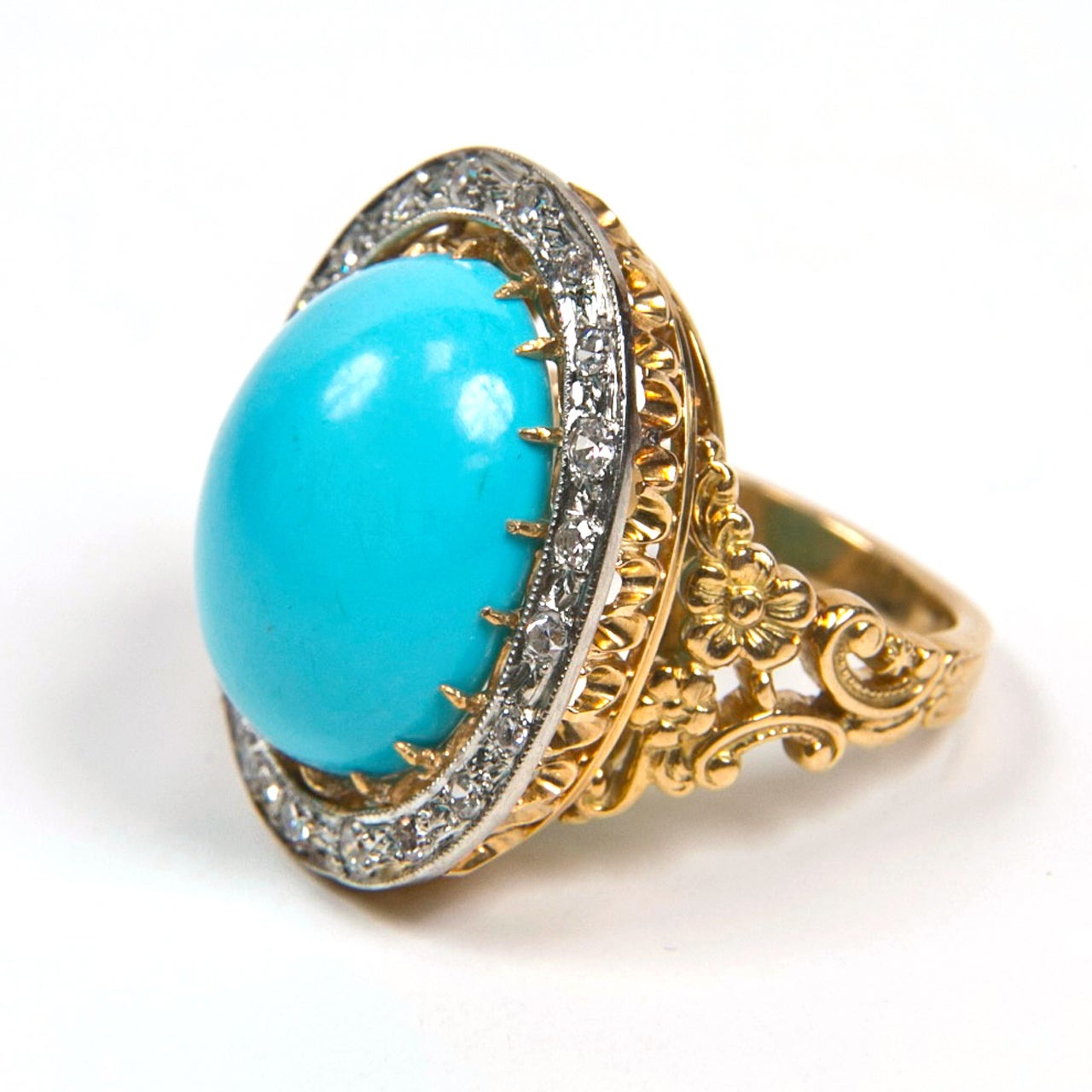 Large Turquoise Gold Ring