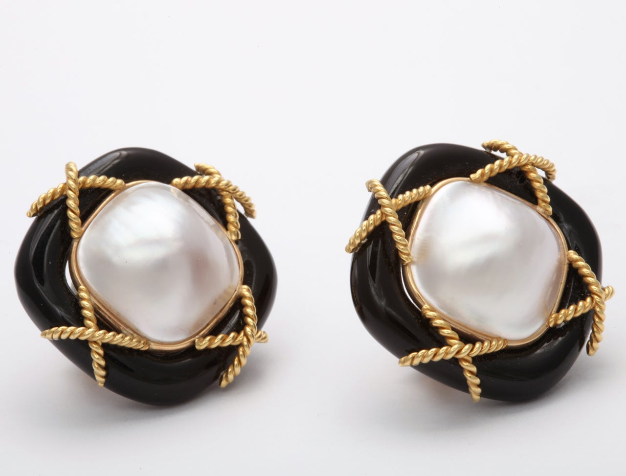 Clip on Earrings  -  Large Mabe Pearls - Cushion Shaped and 