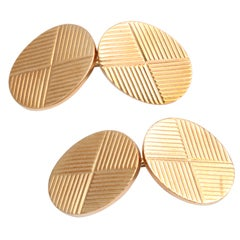 TIFFANY & CO. OVAL ENGRAVED CUFF LINKS
