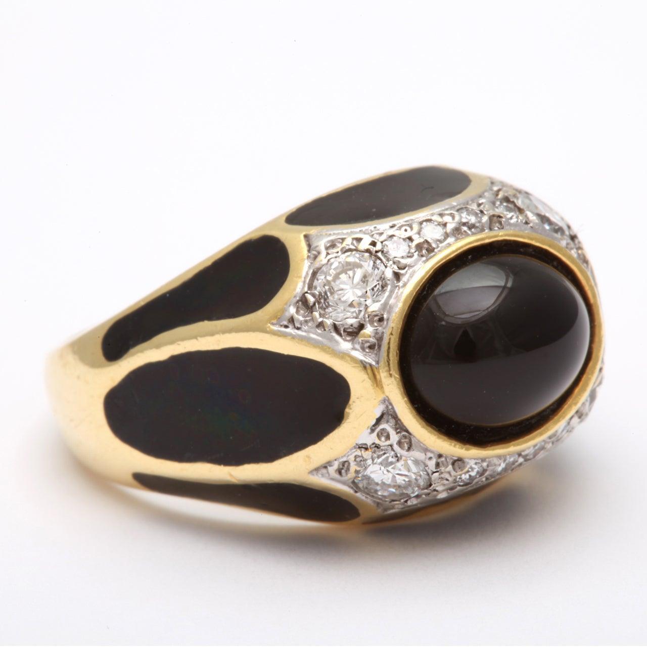 Black Enamel yx Diamond Ring For Sale at 1stdibs