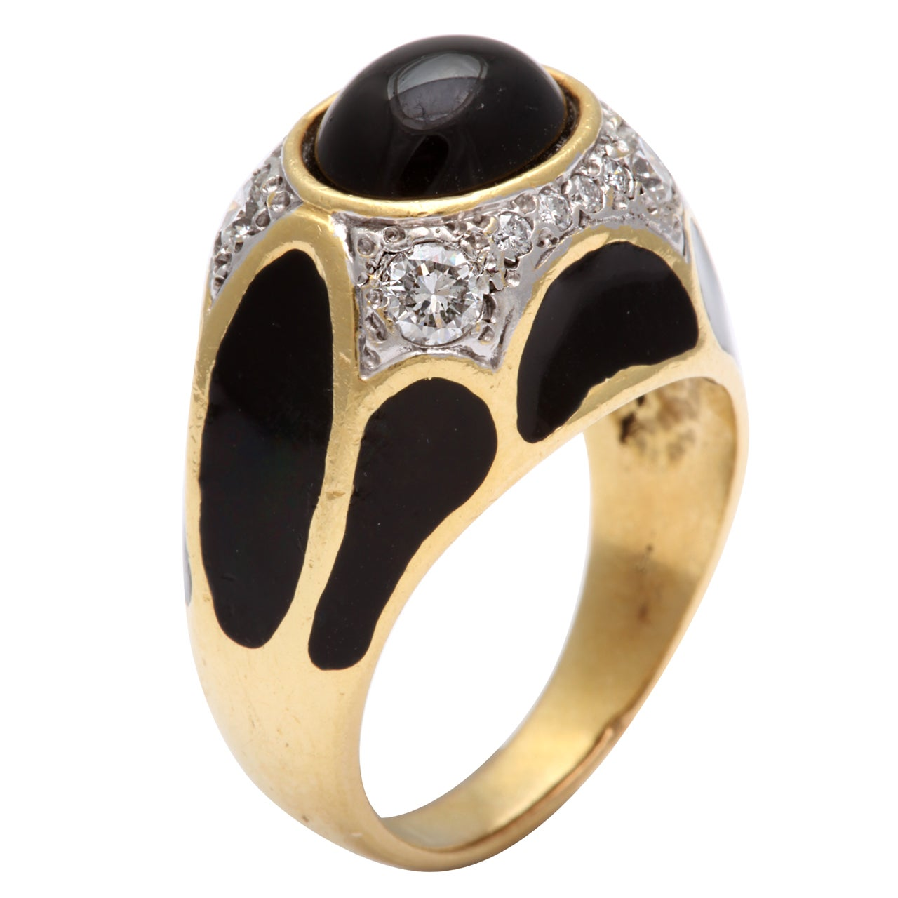 Black Enamel Onyx Diamond Ring