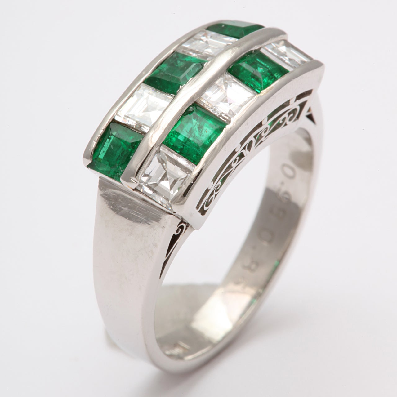 channel set emerald and checkerboard ring for sale
