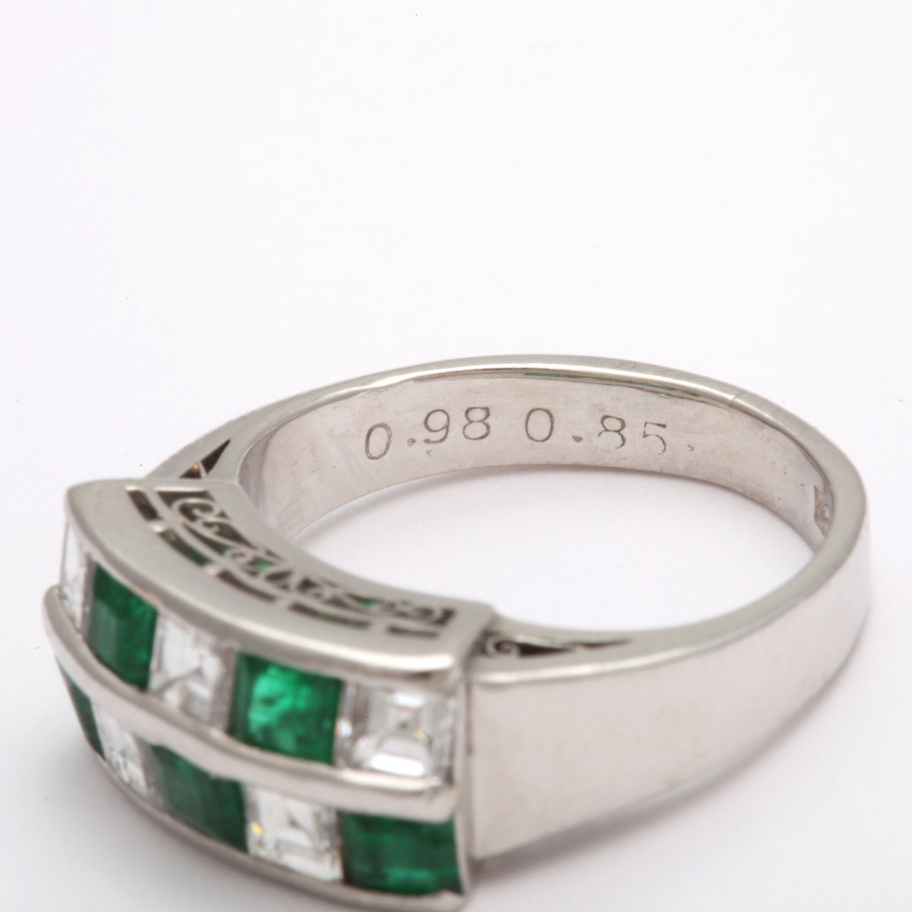 channel set emerald and checkerboard ring at 1stdibs