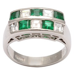 Channel Set Emerald & Diamond Checkerboard Ring