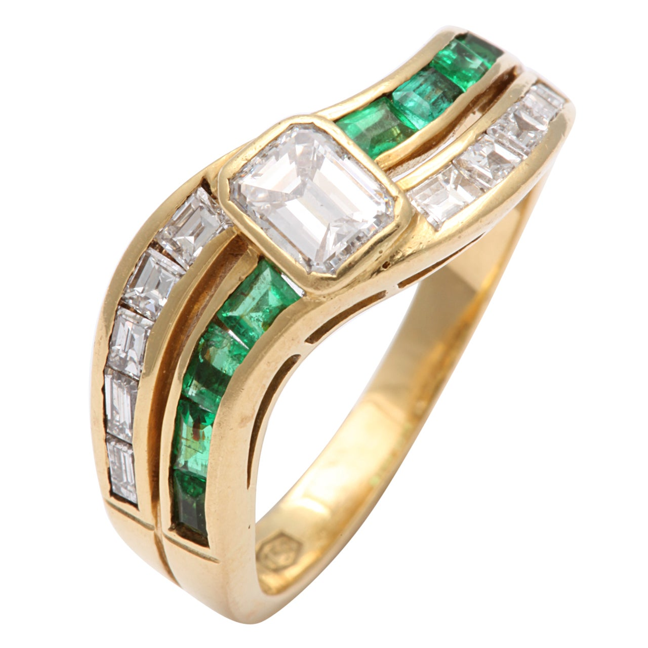 emerald and band ring for sale at 1stdibs