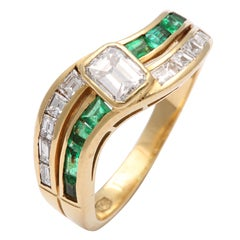 Emerald  & Diamond Band Ring