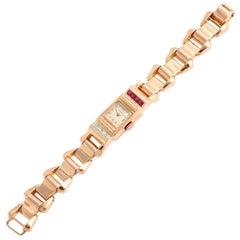 Marvin Ladies Pink Gold Diamond Synthetic Rubies Retro Wristwatch, circa 1940s