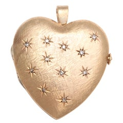 Large Gold And Diamond Heart Locket