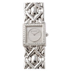 Bulgari Lady's White Gold and Diamond Bracelet Watch circa 1990s