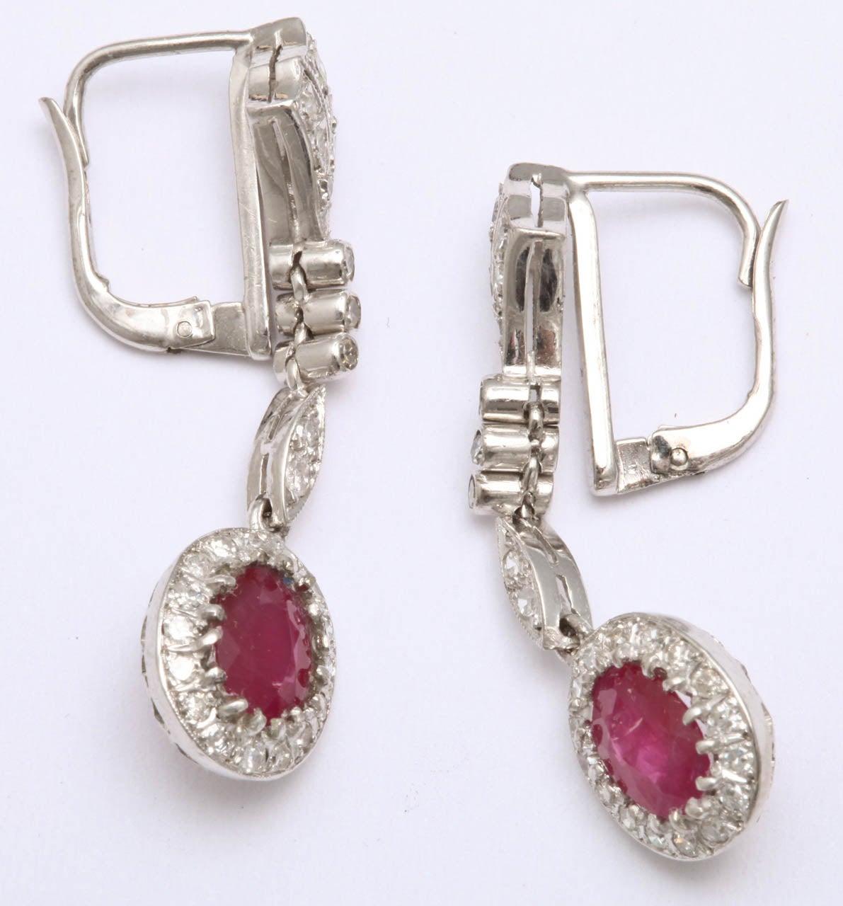 Women's 1940s Ruby Diamond White Gold Drop Dangle Earrings For Sale