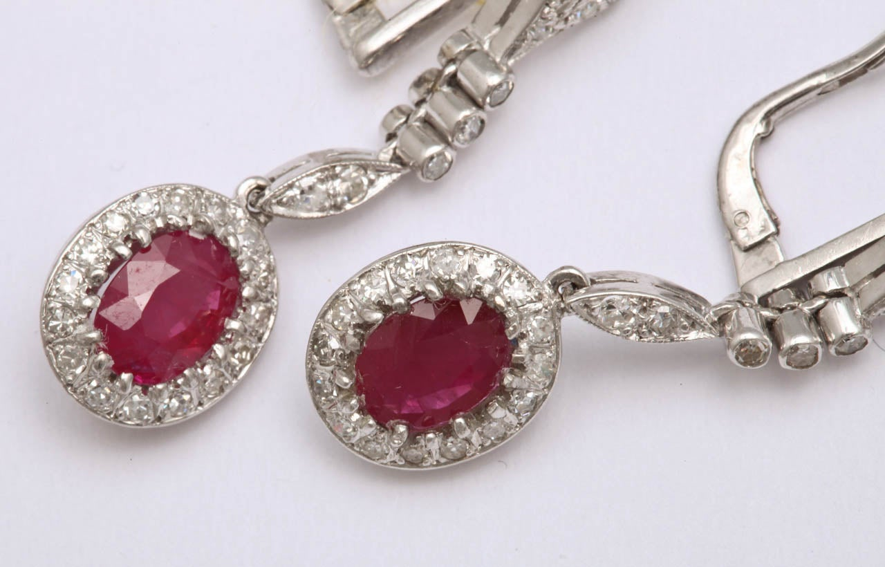 1940s Ruby Diamond White Gold Drop Dangle Earrings For Sale 3