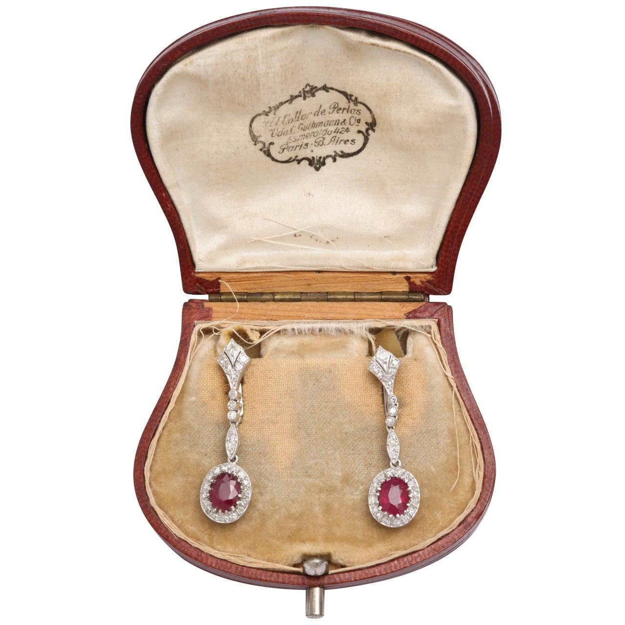 1940s Ruby Diamond White Gold Drop Dangle Earrings For Sale