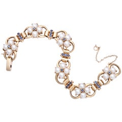 1940s Tiffany & Co. Pearl Sapphire Link Bracelet