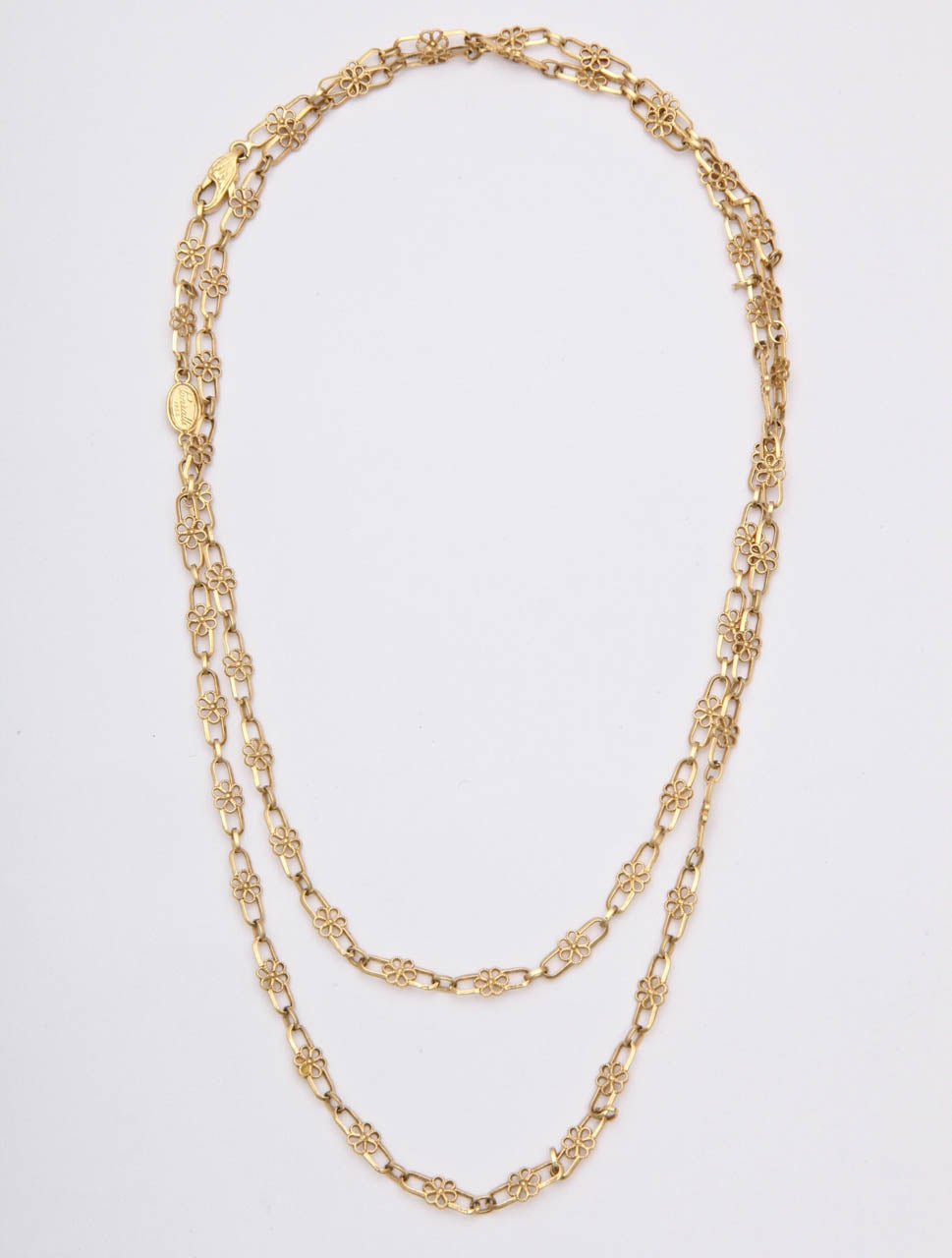 1950's Gold Open Link Delicate Floral Chain Necklace 2