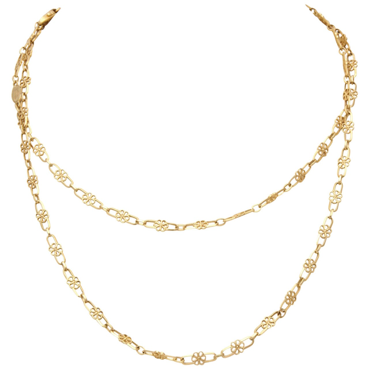 1950's Gold Open Link Delicate Floral Chain Necklace 1