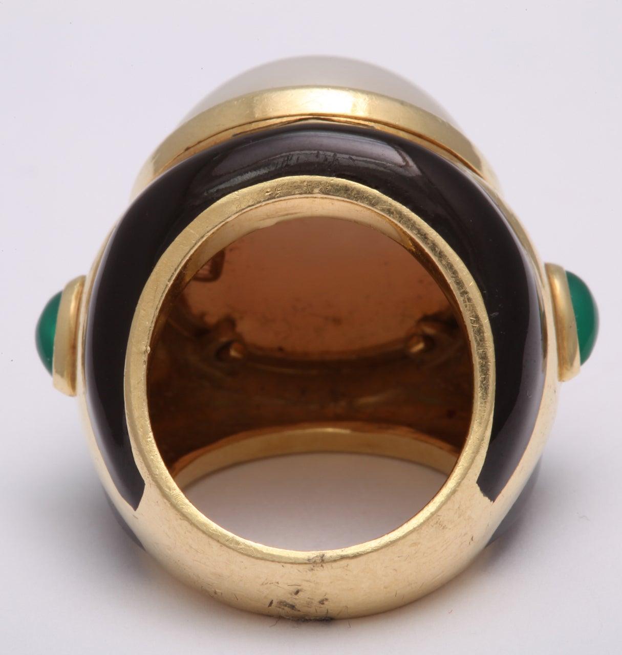 tambetti pearl emerald black enamel gold enamel ring at