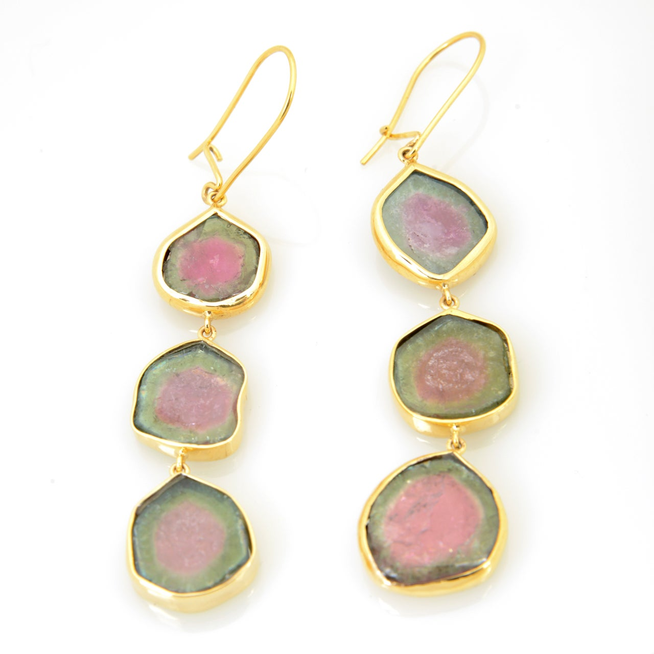 Long Watermelon Tourmaline Gold Earrings 2
