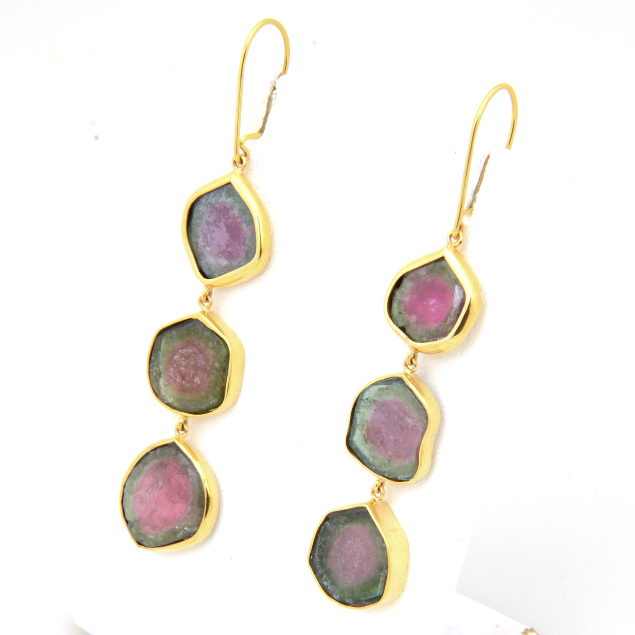 Long Watermelon Tourmaline Gold Earrings 3
