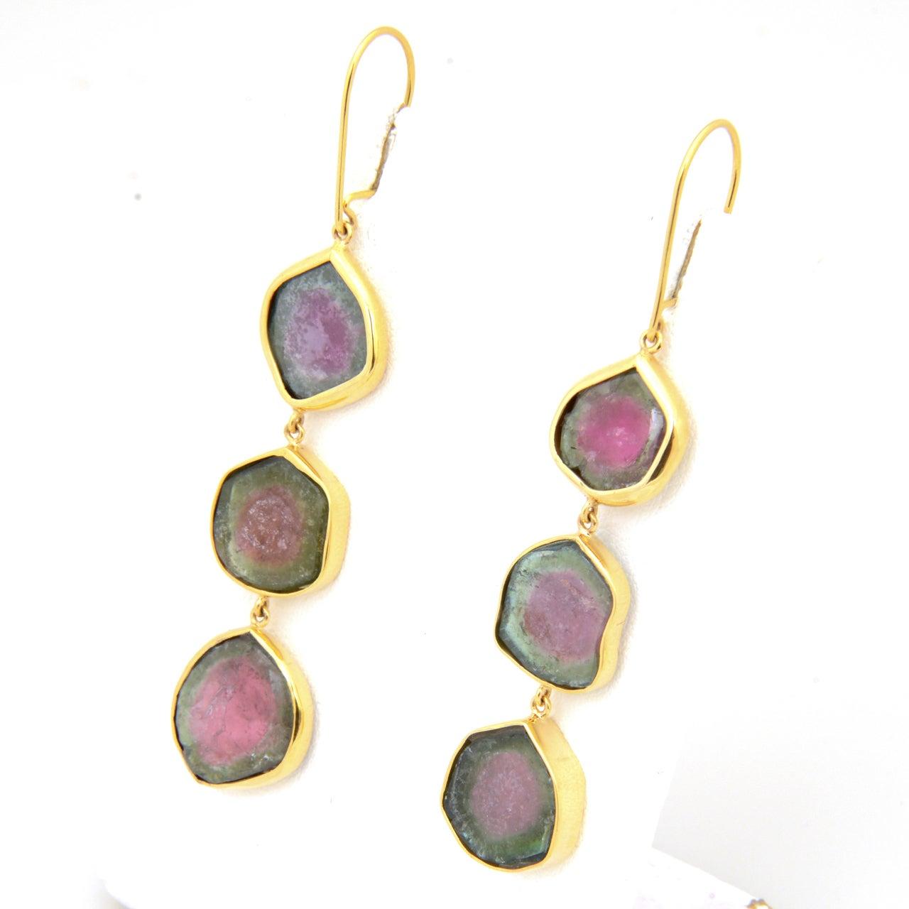 watermelon tourmaline gold earrings image 3