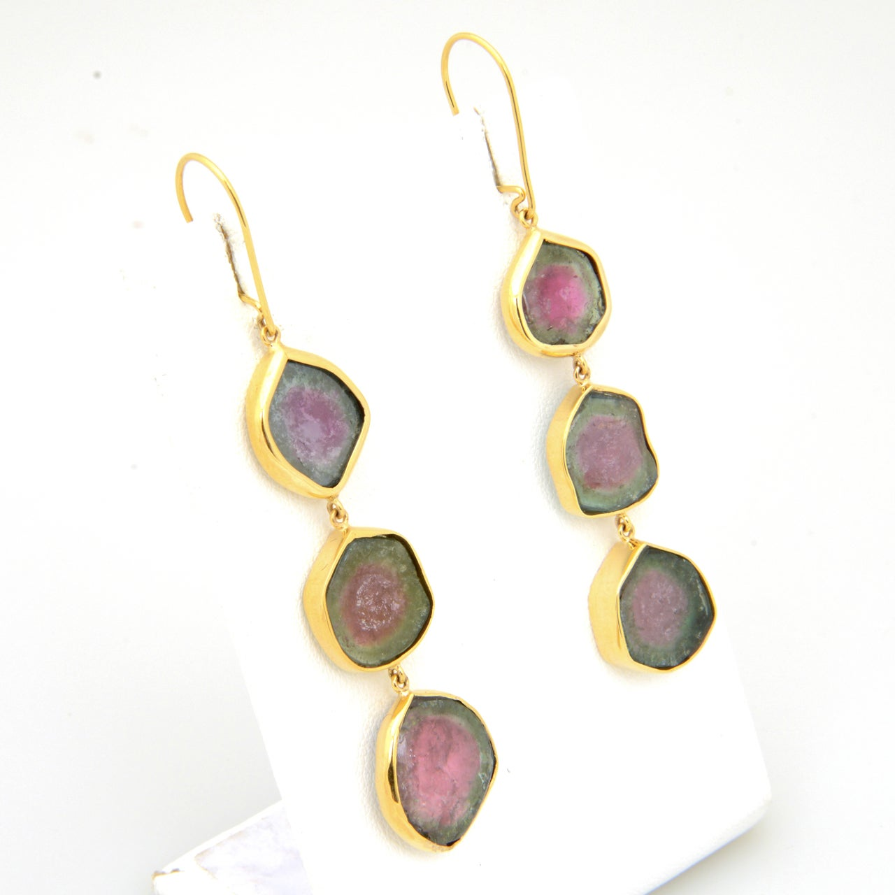 Long Watermelon Tourmaline Gold Earrings 4