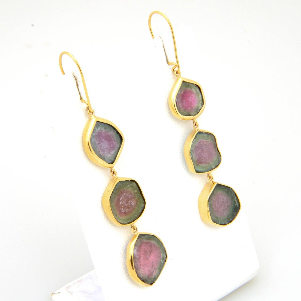 watermelon tourmaline gold earrings at 1stdibs