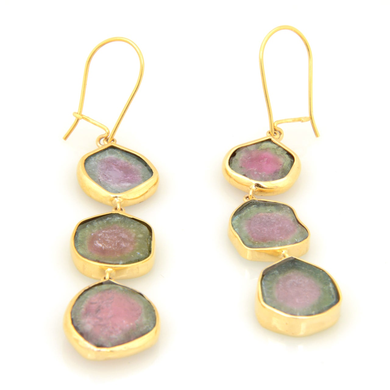 Long Watermelon Tourmaline Gold Earrings 5