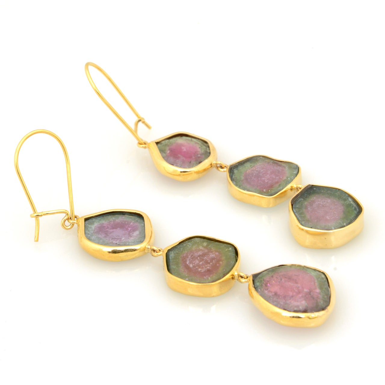 Long Watermelon Tourmaline Gold Earrings 6