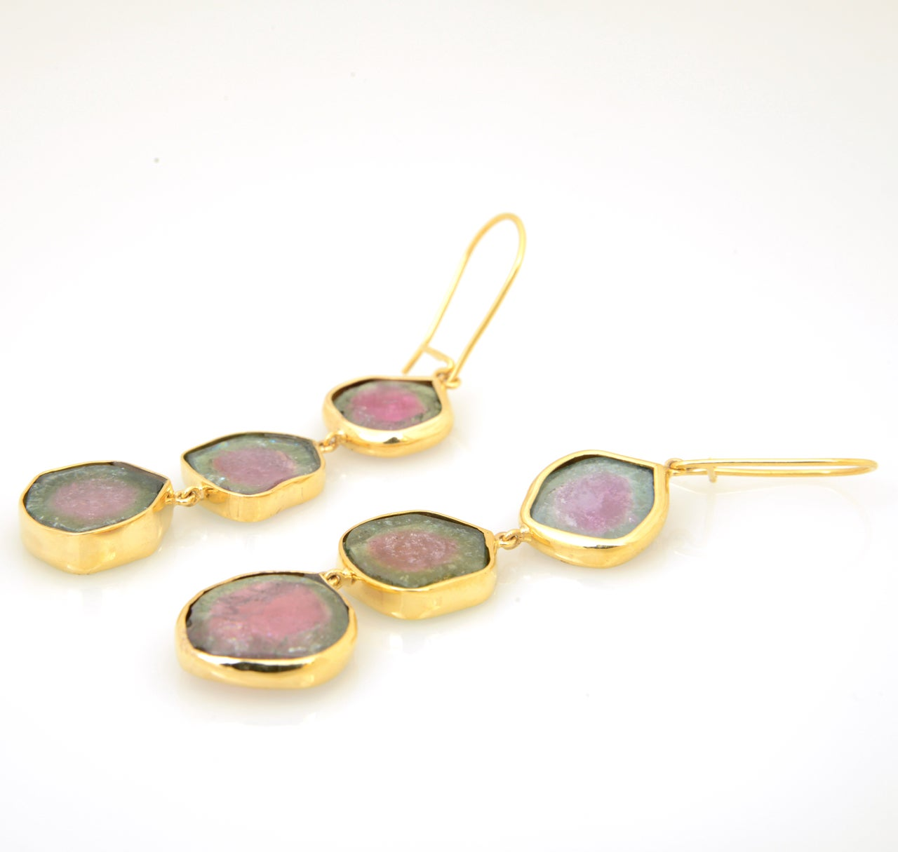 Long Watermelon Tourmaline Gold Earrings 7