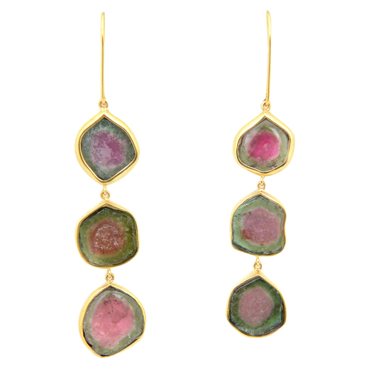 Long Watermelon Tourmaline Gold Earrings 1