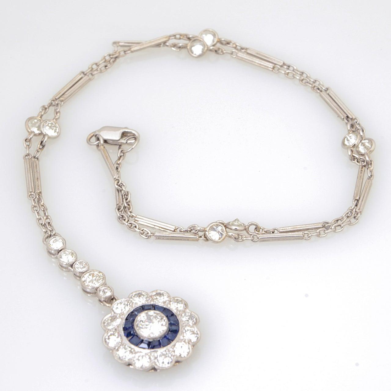 Art Deco Floral Sapphire and Diamond Platinum Drop Pendant Necklace For Sale 2